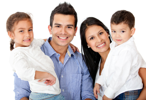 happy family with beautiful smiles because they visited their family dentist in Brookfield